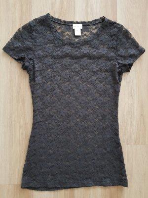 H&M T-Shirt aus Spitze anthrazit / dunkelgrau Gr. XS *** NEU ***