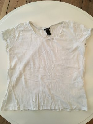 H&M T-Shirt Basic Baumwolle weiss Grösse L