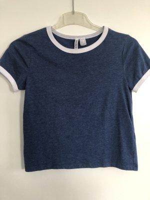 H&M T-Shirt blau mit weißem kragen