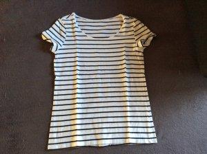 H&M Gestreept shirt wit-donkerblauw Katoen