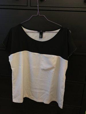 H&M T-Shirt Bluse schwarz weiß 38