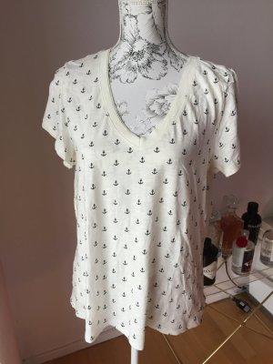 H&M T-Shirt creme dunkelblau mit Ankern Gr XL 42