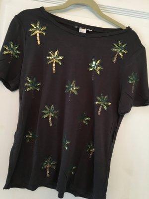 H&M T-Shirt dunkelgrau Pailletten Gr. S