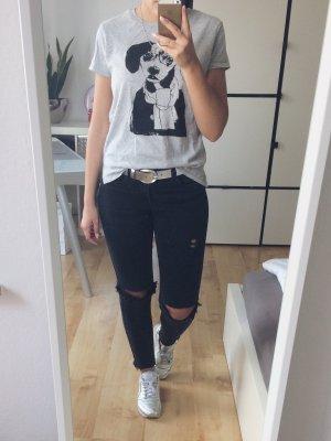 H&M T-Shirt grau mit Print Hund schwarz Gr. XS NEU