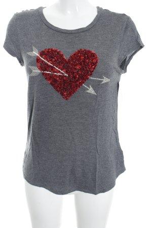H&M T-Shirt meliert Paillettenverzierung