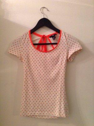 H&M T-Shirt, neonorange, gepunktet, mehr oder weniger rückenfrei