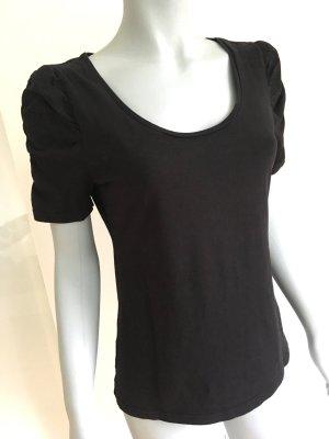 H&M T-Shirt Raffärmel Puffärmel U-Boot-Ausschnitt schwarz Gr. M