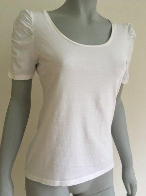 H&M T-Shirt Raffärmel Puffärmel U-Boot-Ausschnitt weiß Gr. M