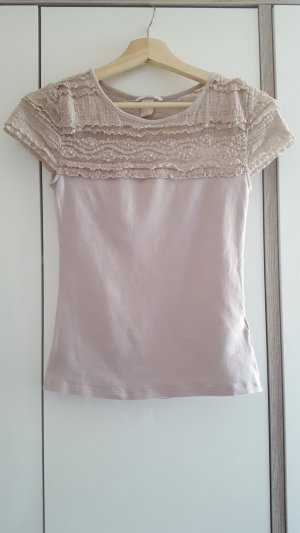 H&M T-Shirt Rosa mit Spitze