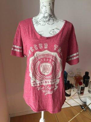 H&M T-Shirt rot creme melliert Gr L