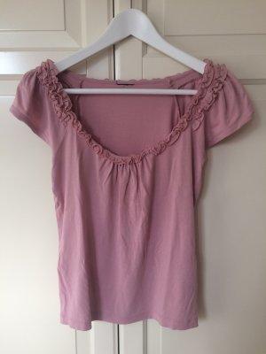 H&M T-Shirt, Rüschen, rosa, Größe XS