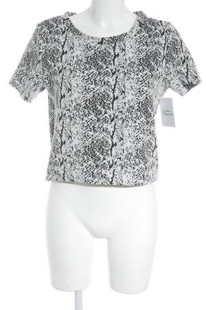H&M T-Shirt schwarz-weiß abstraktes Muster Street-Fashion-Look