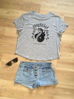 H&M T-Shirt Shirt Top Hemd Bluse Croptop Cami Coachella Grau Schwarz XS 34  NEU