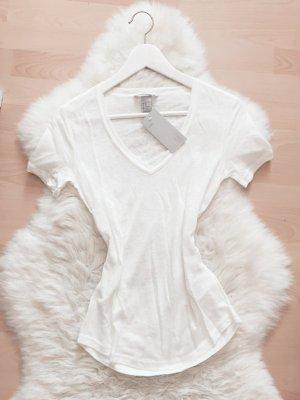 H&M T-Shirt Top Blogger V-Ausschnitt Shirt NEU Gr.XS