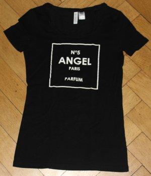H&M T-Shirt Top schwarz weiß Gr. XS Angel N°5 Paris Parfum Chanel DIY
