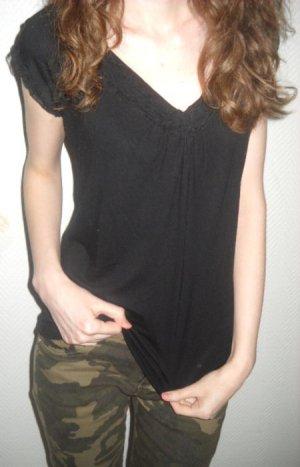 H&M T Shirt Tunika schwarz Rüschen Kurzarm Raffung V-Ausschnitt 36 38 S M w Neu