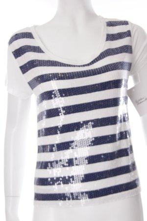 H&M T-Shirt weiß-dunkelblau Streifenmuster Paillettenverzierung
