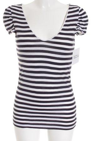 H&M T-Shirt weiß-dunkelblau Streifenmuster schlichter Stil