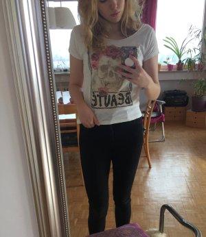 H&M T-Shirt weiß mit Totenkopf und Rose (M)