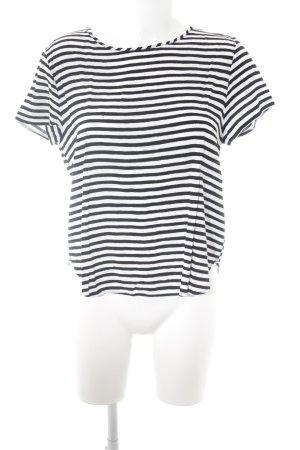 H&M T-Shirt wollweiß-schwarz Streifenmuster Casual-Look