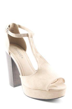 H&M Zapatos de tacón con barra en T beige look casual