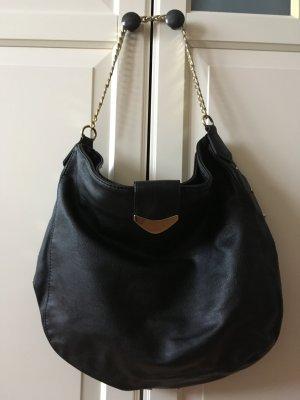 H&M Tasche, Beuteltasche, schwarz, mit goldenem Henkel