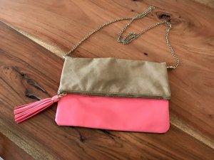 H&M Tasche/Clutch mit goldener Tragekette - unbenutzt!!! Pink/Beige/G