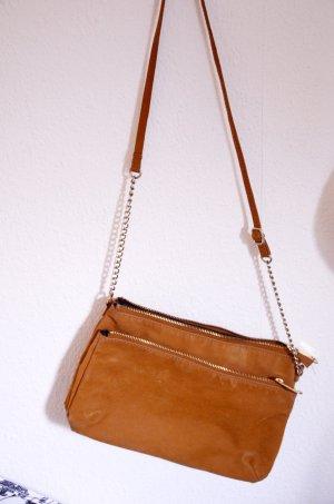 H&M Tasche / Clutch zum Umhängen, Wildlederoptik, braun