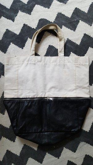 H&M Tasche Kunstleder Stoff zweifarbig Colour Block