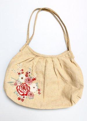 H&M Tasche Sommer Leinen beige creme rot rosa grün Pailetten geblümt Blumen Stickerei
