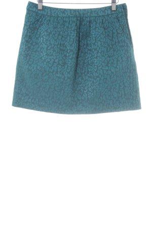 H&M Falda circular azul cadete-petróleo estampado de animales estampado animal