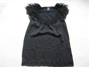 H&M top bluse volant schwarz gr. xs 34 neuwertig