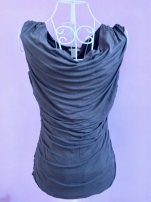 H&M Camisa con cuello caído gris