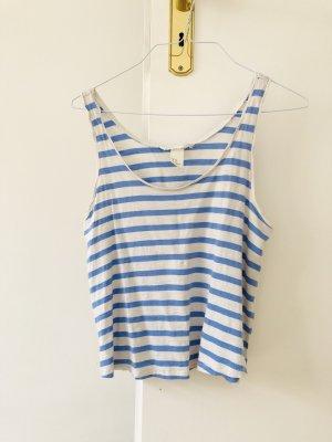 H&M Top Crop Shirt weiß hellblau gestreift XS 34