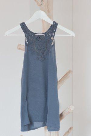 H & M Top feiner Kragen blau meliert Größe XS