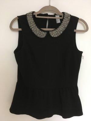 H&M Top, Größe 36, schwarz, mit Perlen bestickter Kragen, Schößchen-Top