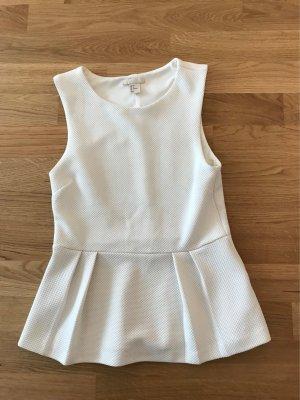 H&M Top mit Schösschen in Weiß, Gr. 34