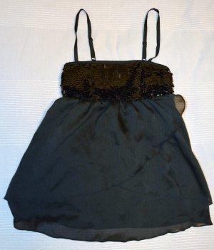 H&M Top Schwarz Bluse Pailletten Gr. 34 Neu