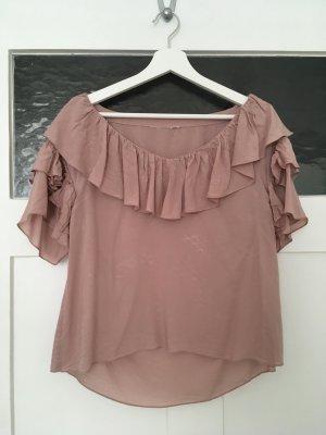 H&M Top Shirt Bluse Hemd Croptop Cami Lila Flieder Puderrosa Rosa Rose Rüschen Volants XS 34 NEU