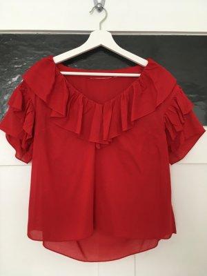 H&M Top Shirt Bluse Hemd Croptop Cami Rot knallrot Rüschen Volants XS 34 NEU