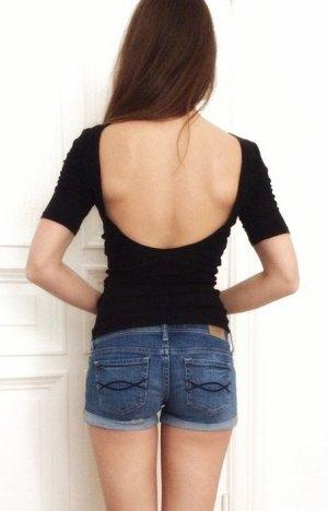 H&M Top Shirt Oberteil schwarz tiefer Rückenausschnitt 34 XS
