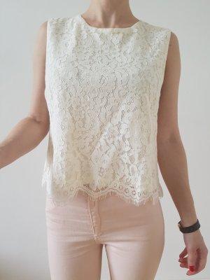 H&M Top Spitze XXS XS S 32 34 36 weiß Häkel Bluse Oberteil Shirt Peplum Tunika