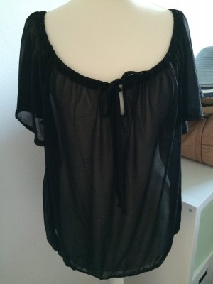 H&M Top T-Shirt schwarz NEU 38 M 40 L Bluse durchsichtig Sommer Frühling