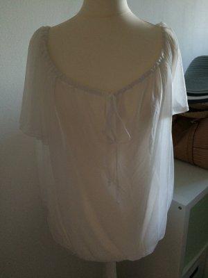 H&M Top T-Shirt weiß NEU 38 M Bluse Top Bluse durchsichtig 40 L Frühling Sommer