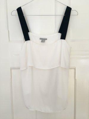 H&M Top Trägertop Camisole weiß schwarz Volants Gr. 38