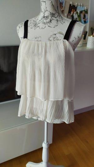 H&M Flounce Top black-natural white