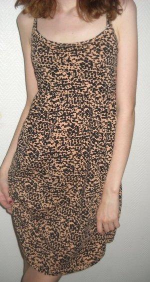 H&M Träger Kleid Hängerchen Leo Leopard Raffung Spaghetti 36 38 40 S M L Neu