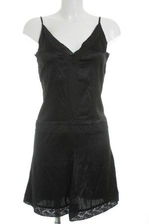 H&M Trägerkleid schwarz Glanz-Optik