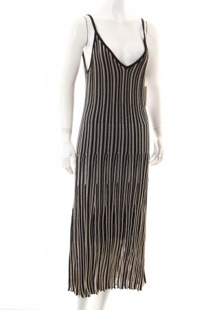 H&M Pinafore dress black-gold-colored striped pattern elegant