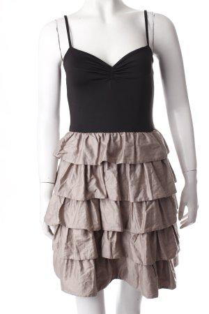 H&M Trägerkleid schwarz-graubraun Materialmix-Look